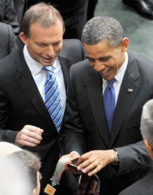 Tony Abbott and Barack Obama during the President's visit to Australia in 2011.