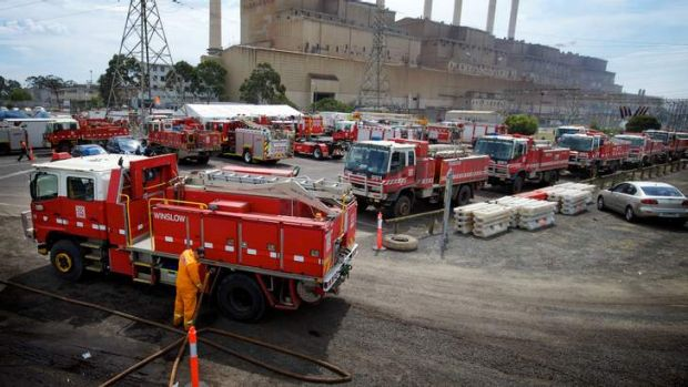Firefighters attend the Hazelwood mine fire.