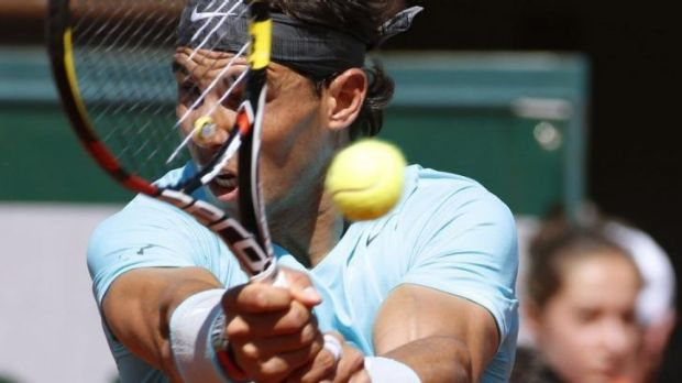 Focused: Rafael Nadal crushed Andy Murray in straight sets.
