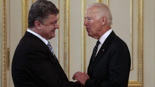 Building alliances: Ukrainian President Petro Poroshenko (left) with US Vice-President Joe Biden in Kiev on Saturday. ...