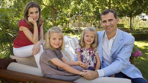 Royal family: Spanish Crown Prince Felipe, his wife Princess Letizia and their daughters Sofia, and Leonor, on her ...
