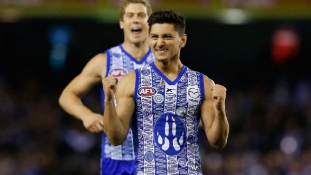 Rubbing it in: Ex-Tiger Robin Nahas, now a Kangaroo, delights in seeing his former club sink to another loss.