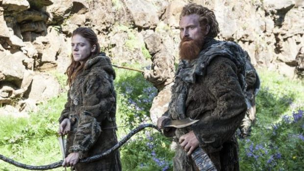 Baying for Crow blood ... Ygritte (Rose Leslie), left, is keen to shoot as many Night's Watch men as possible, including ...