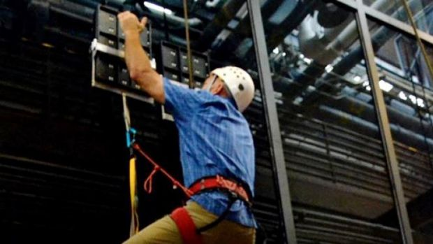 Spidey effect ... During testing, an operator climbed 7.4 metres vertically on a glass surface using no climbing ...