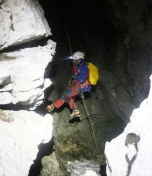 A rescuer enters a cave near Berchtesgaden, Germany.
