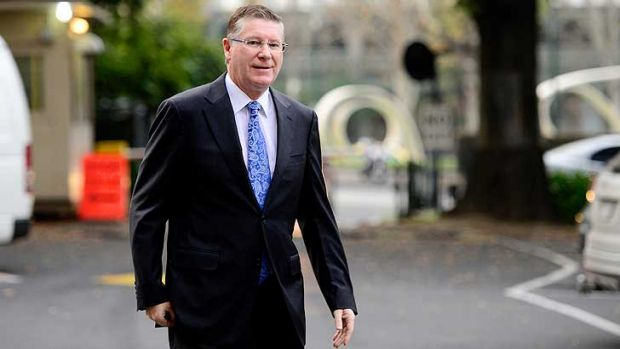 Under pressure: Premier Denis Napthine outside Parliament on Tuesday morning.