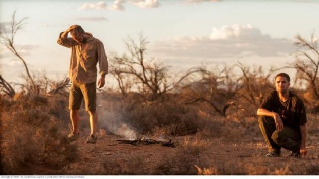 Instant connection: Guy Pearce and Robert Pattinson on the set of <i>The Rover</i>.