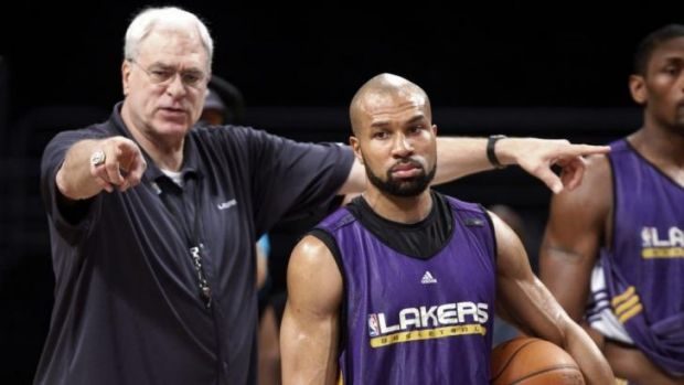 Phil Jackson and Derek Fisher during their time together at the LA Lakers in 2010.