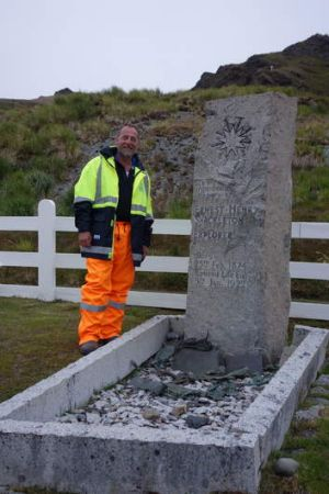 Colin Corkill, a Shackleton admirer since he was a boy, at the explorers's grave at South Georgia in the southern ...