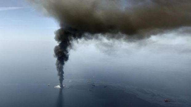 Disaster: the Deepwater Horizon oil rig burns at the height of the spill in the Gulf of Mexico on April 21, 2010.