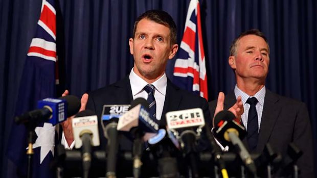 Parties united: Premier Mike Baird and Deputy Premier Andrew Stoner address a media conference at Parliament House on ...