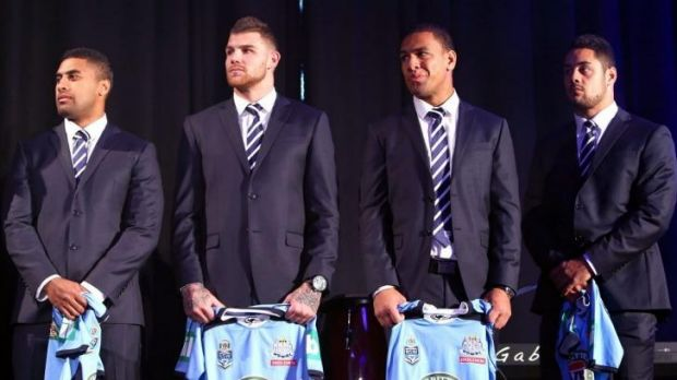 Blues brothers: Michael Jennings, Josh Dugan, Will Hopoate and Jarryd Hayne at the NSW team announcement on Tuesday.