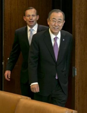Tony Abbott meets with UN Secretary General Ban Ki-Moon at the UN headquarters.