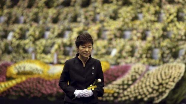 South Korean President Park Geun-hye pays tribute to the victims of the sunken ferry Sewol.