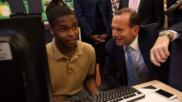 Prime Minister Tony Abbott at the  Pathways in Technology Early College High School in Brooklyn. He is considering ...