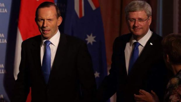Prime Minister Tony Abbott and Canadian Prime Minister Stephen are increasingly isolated in their push to limit action ...