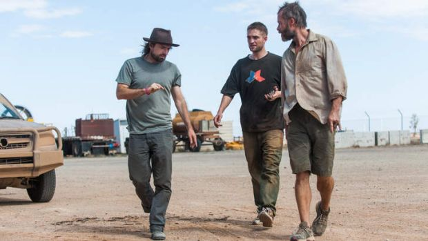 Director David Michod with  Robert Pattinson and Guy Pearce on the set of <i>The Rover</i>.