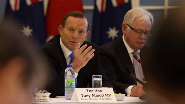 Cosying up to Canada: Tony Abbott.