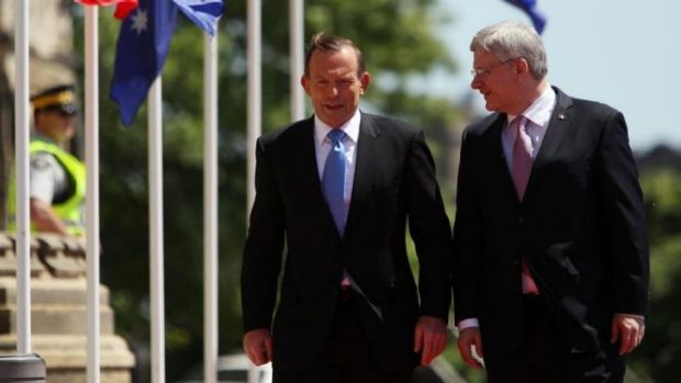 Conservative politicians Statement of intent: Canadian Prime Minister Stephen Harper with Australian Prime Minister Tony ...