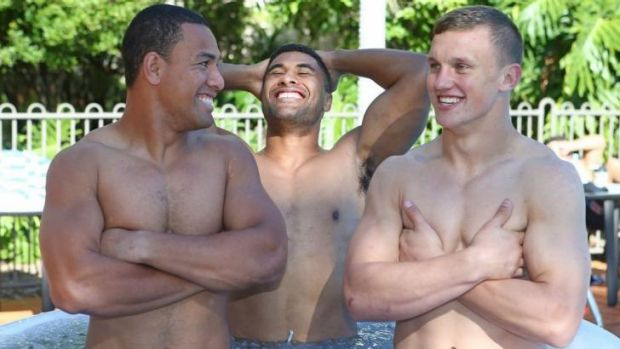 Jack Wighton, right, enjoys a laugh in NSW camp with Will Hopoate, left, and Michael Jennings on Thursday.