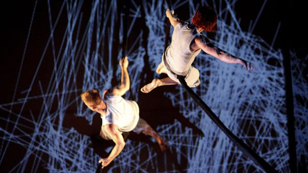 Images are projected on to dancers in Stalker Theatre's <i>Encoded</i>.