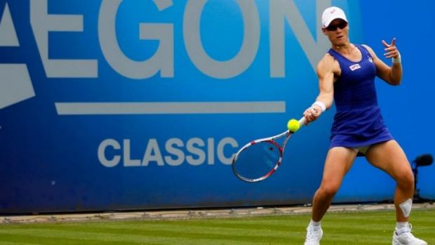 Friendly fire: Sam Stosur has been knocked out of Birmingham by Casey Dellacqua.