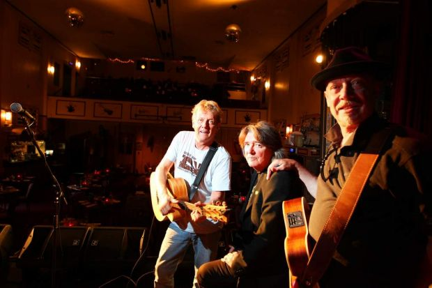Cotton Keays and morris play at Lizotte's Newcastle - L-R Darryl Cotton, Jim Keays and Russell Morris on stage. 2012