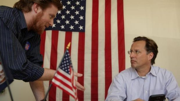 Werrell talks to David Brat, right, who became the first person to beat a House majority leader in a primary race.