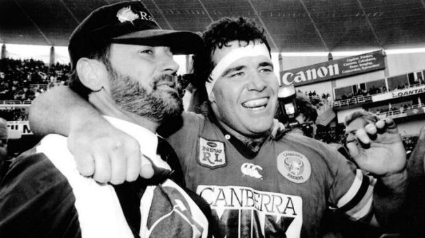 Happy days: 1994 grand final hero Paul Osborne, with coach Tim Sheens.