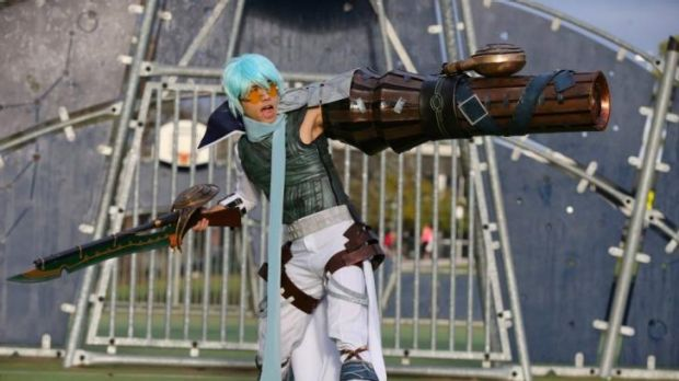 William Wong with his winning costumes as Ovan from the video game dotHack GU