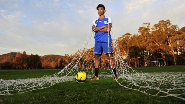 Gimale Essacu,16, is ready to impress for Canberra City in the NPL.