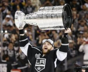 Marian Gaborik celebrates with the Stanley Cup