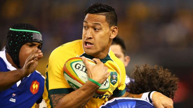 Wallabies fullback Israel Folau runs the ball during the second Test versus France at Etihad Stadium.