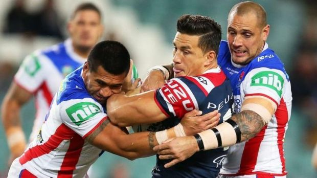 Roosters forward Sonny Bill Williams can't escape the Knights on this occasion.