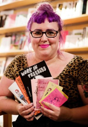 Gemma Flack with her zine works at Sticky Institute.