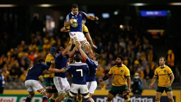 Damien Chouly wins the ball from a lineout during the second Test between the Australian Wallabies and France at Etihad ...