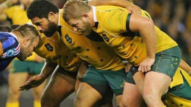 Standing firm: The Wallabies scrum on Saturday night showed positive signs.