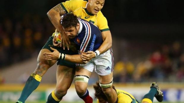 Starved: Israel Folau gets near the ball in a rare moment  against the French.