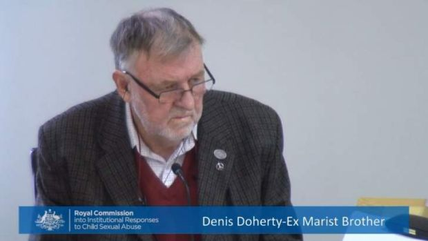 Former Marist Brother Denis Doherty gives evidence about convicted molester Gregory Sutton at the Royal Commission into ...