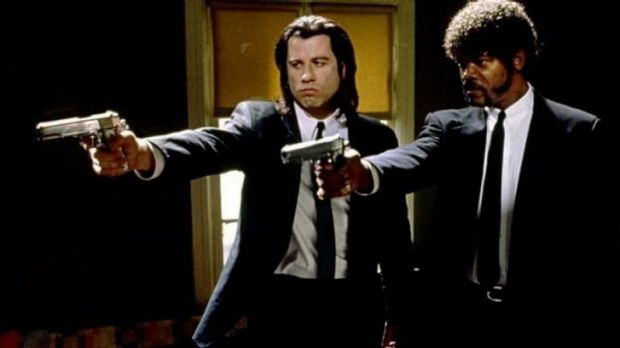 John Travolta and Samuel L Jackson as hitmen in Quentin Tarantino's Pulp Fiction.