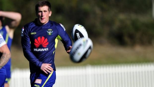 Josh McCrone at Raiders training on Monday. He has signed with the club for the next two seasons,