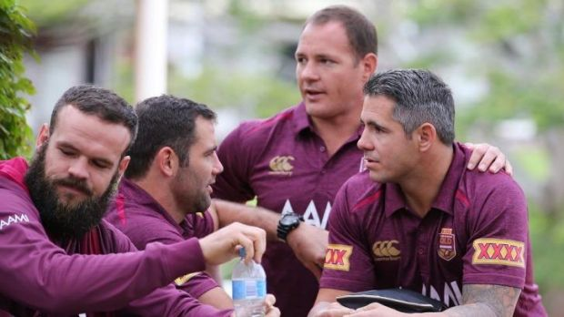 Nate Myles, Cameron Smith, Matthew Scott and Corey Parker during a Maroons media session last week.