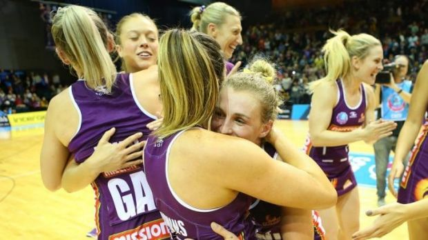 Verity Simmons and Gabi Simpson of the Firebirds celebrate.