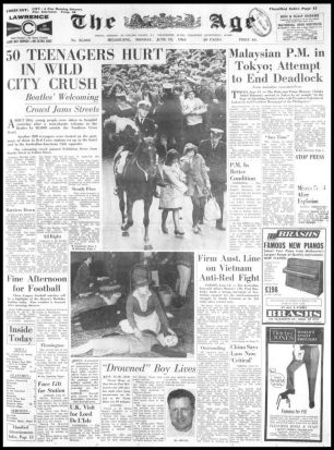The front page of The Age, June 15, 1964. Source: Fairfax Archives.