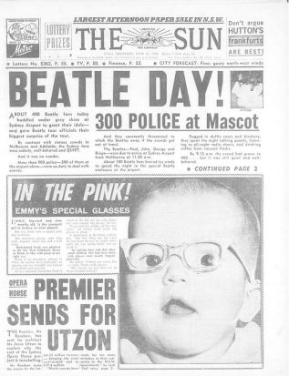 The front page of The Sun, Thursday June 18, 1964. Source: Fairfax archives.