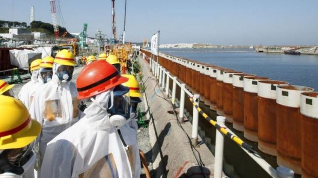 Wall hits a snag: Japanese PM Shinzo Abe looks at the wall along the coast of Tokyo Electric's Fukushima nuclear power ...