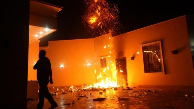 The US consulate in Benghazi in flames on September 11, 2012.