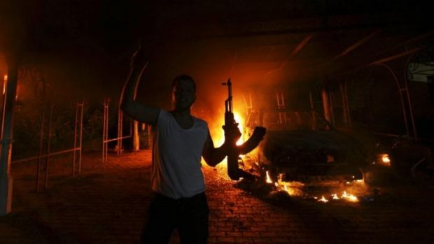 A protester in front of the US consulate in Benghazi on September 11, 2012.