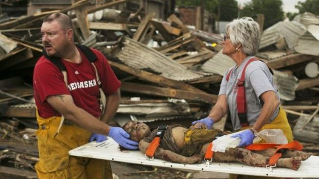 Young tornado victim rescued.