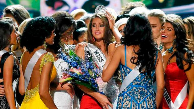 Answering the critics?: Nia Sanchez celebrates after being crowned Miss USA 2014.